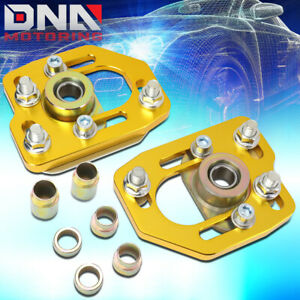 For 1990 1993 Ford Mustang Front Aluminum Adjustable Camber caster Plates Gold
