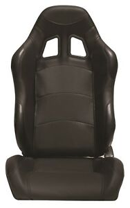 Cipher Auto Black Leatherette Universal Euro Racing Seats Wide Version Pair New