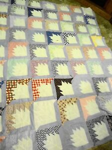 Vintage Quilt Top Hand Stitched 1930 1940 S Size 80 L X 62 W Unfinished