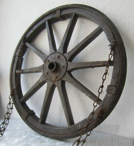20 Antique Vintage Wood Metal Barrow Wagon Wheel With 4 Chains