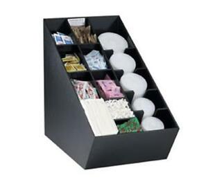 Dispense rite Countertop Lid Straw Condiment And Napkin Organizer Black