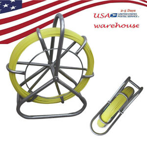 Us Yellow Fish Tape Fiberglass Wire Cable Rod Duct Rodder Fishtape Puller 6mm