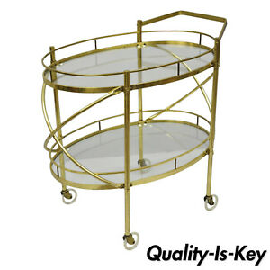 Two Tier Brass Glass Oval Bar Cart Mid Century Modern Serving Trolley Table