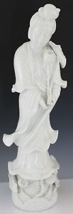 Vintage Seyei Blanc De China Kwan Yin Ornate 19 Porcelain Floral Robed Figurine