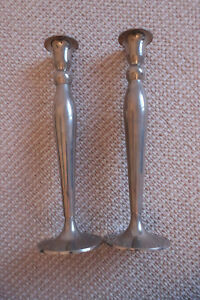 Pair 10 Silverplate Made In Denmark Candlesticks Sterling Classic Modern Style