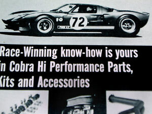 1967 Ford Gt40 Cobra Kit Ad Original Mustang Fairlane Shelby Gt 350 500 Hood
