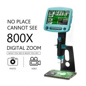800x Usb Digital Microscope Camera 4 3 8led Soldering Lcd Microscopes Magnifier