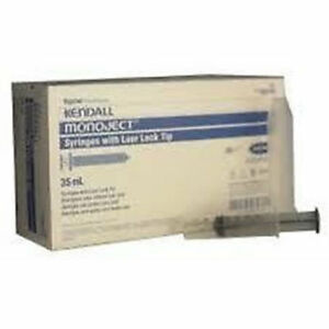35cc 35ml Kendall Monoject Luer Lock Tip Plastic Disposable Syringes 30 Count
