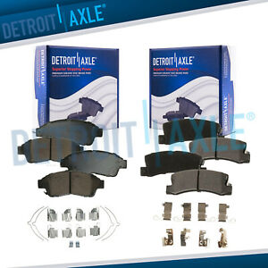 Front Rear Ceramic Brake Pads W hardware For 1992 1998 1999 Toyota Camry