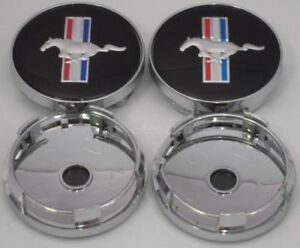 Ford Mustang Cobra Gt Wheel Running Horse Hub Center Caps 60mm Black 4pcs Set