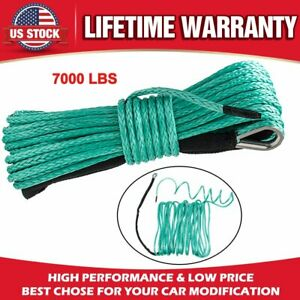 1 4 X 50 7700lbs Synthetic Winch Line Cable Rope W Sheath For Atv Utv Green