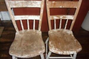 Aafa 2 Early Antique Primitive C1840 Plank Bottom Chairs Old Oyster White Paint