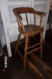 Aafa Early Antique Primitive C1840 Plank Bottom High Chair Sq Nails