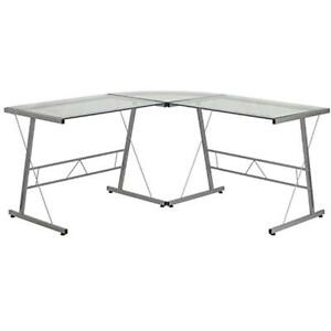 Glass Home Office Desks L shape Computer With Silver Frame Finish