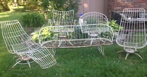 Vtg Homecrest Mid Century Wire Swivel Chaise Lounge Chairs Couch 5 Piece Set