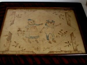 Antique Palmer Cox Brownies Embroidery In Original Frame C 1890 S
