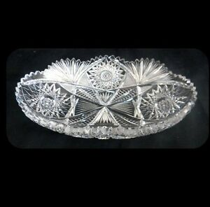 Brilliant Cut Glass Dish With Sawtooth Rim And Star And Fan Design