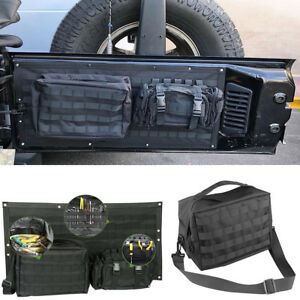 Tailgate Cover Cargo Storage Bag Tool Kit Organizer Saddlebag For Jeep Wrangler