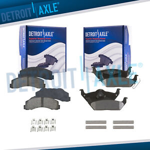 Front Rear Ceramic Brake Pads W hardware For 2010 2011 Ford F150
