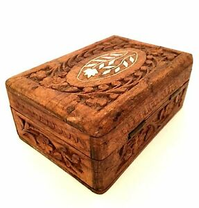 Vintage Trinket Jewelry Box Shell Inlay Hand Carved In India 5 Inches Long