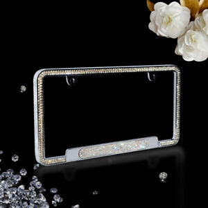 Luxury White Crystal License Plate Frame With Shining Oval Crystal For Bmw Benz