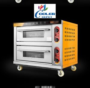 New Commercial Double Electric Restaurant Oven W Stainless Steel Table 220v
