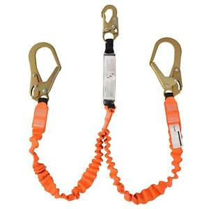 Double Leg 6foot Fall Protection Shock Absorber Stretch Safety Lanyard With Snap