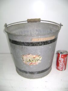 Vintage Atlanic Galvanized Metal 11 Tall Wooden Handled Pail Bucket Planter