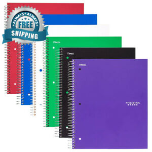 Five Star Spiral Notebooks 1 Subject Wide Ruled Paper 100 Sheets 10 1 2