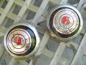 Two Pontiac Chieftain Safari Star Chief Hubcaps Wheel Covers Center Cap Antique