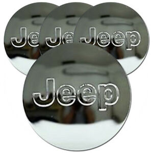 Chrome Center Caps With Jeep Logo Fits 2016 2017 Jeep Cherokee 2 25 set Of 4