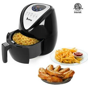 1500w Electric 3 7qt Oil Less Air Fryer Timer And Temperature Control Black