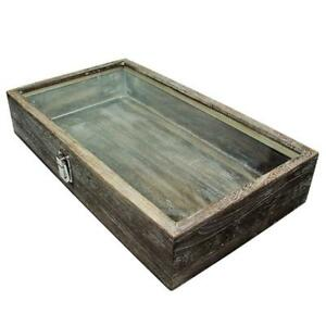 Jewelry Ring Display Wooden Organizer Case Large Wood Watch Box Glass Top New