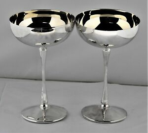 Set Of 2 Silver Plate Wine Champagne Goblets Glasses 6 Tall Bar Ware Vintage