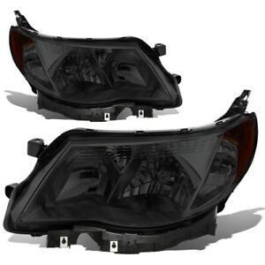 Fit 09 13 Subaru Forester Smoked Housing Amber Side Front Driving Headlight lamp