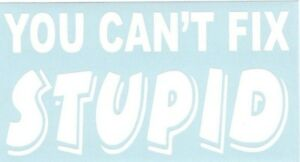 You Cant Fix Stupid Funny Car Truck Suv Vinyl Sticker Decal
