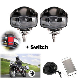 Pair Cree Motorcycle Led Spot Light Driving Fog Lamp Drl White Usb Port Switch