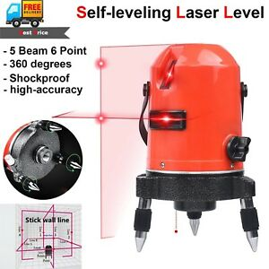 Self Leveling Rotary Laser Level 5 Line Cross 6 Point Automatic Measure Tool 360