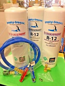 Refrigerant R12 28 Oz Cans Three With Leak Stop Pro Seal Xl4 Taper Hose
