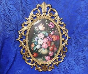 Vntg Oval Convex Glass Floral Picture Ornate Brass Frame 13 X 10