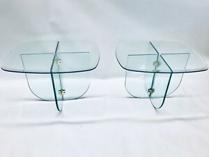 Leon Rosen Brass Glass Pace Collection Modern Side Table Heavy Mid Century