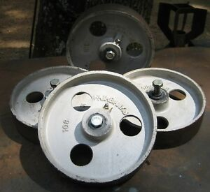 Vtg Cast Iron Fairbanks Caster Wheels 8 Metal Industrial Factory Steampunk X 4