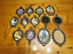 13 Vtg Victorian Italy Metal Oval Picture Frames Mirrors Floral Girls Blue Boy
