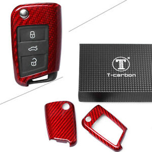Auto Remote Key Cover Case Protective Red Carbon Fiber For Vw 2015 2018 New