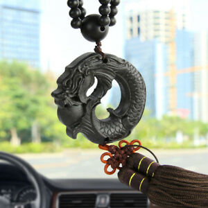 Car Pendant Ebony Wood Carving Chinese Fengshui Dragon Sculpture Beads Accessory