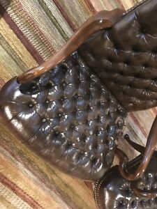 Pair Custom Made Ethan Allen Genuine Leather Chairs