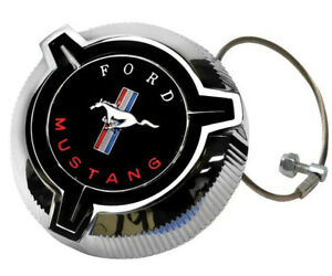 1967 Mustang Fuel Gas Cap Twist Off Chrome Plated W Cable Dynacorn T80
