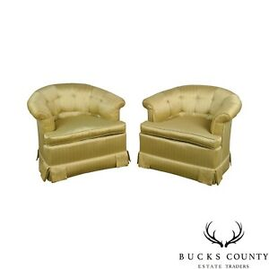 Beacon Hill Custom Gold Upholstered Pair Of Swivel Barrel Back Club Chairs
