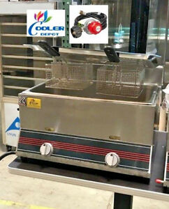 New 7 Gallon Double Deep Fryer Model Fy3 Counter Top Commercial Gas Propane Use