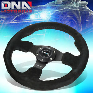 Nrg Reinforced Rst 012s 320mm Type r Black Suede Steering Wheel W horn Button